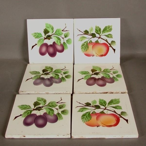 6 tiles. Art Nouveau....