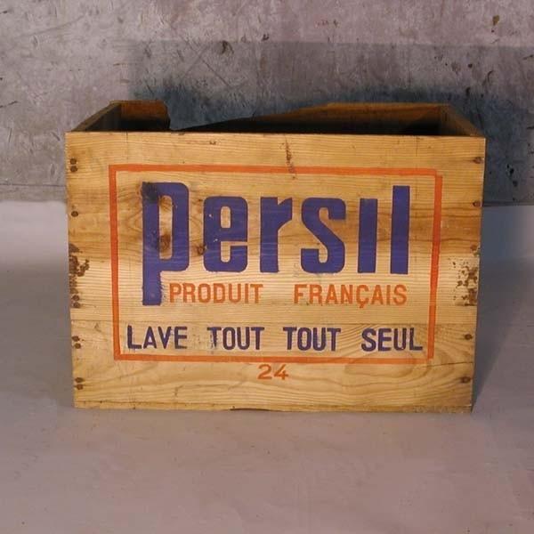 Holzkiste mit Werbeaufdruck...
