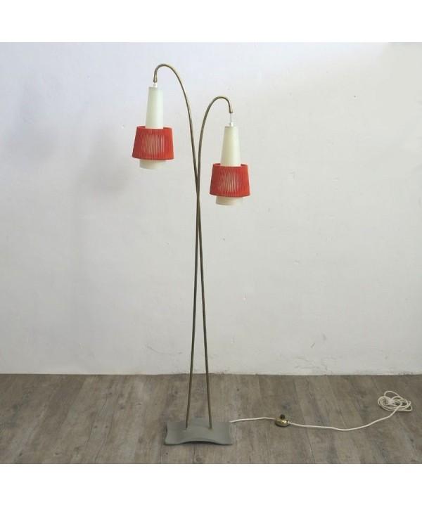 Vintage Stehlampe mit zwei Leuchtquellen. 1950 – 1955.