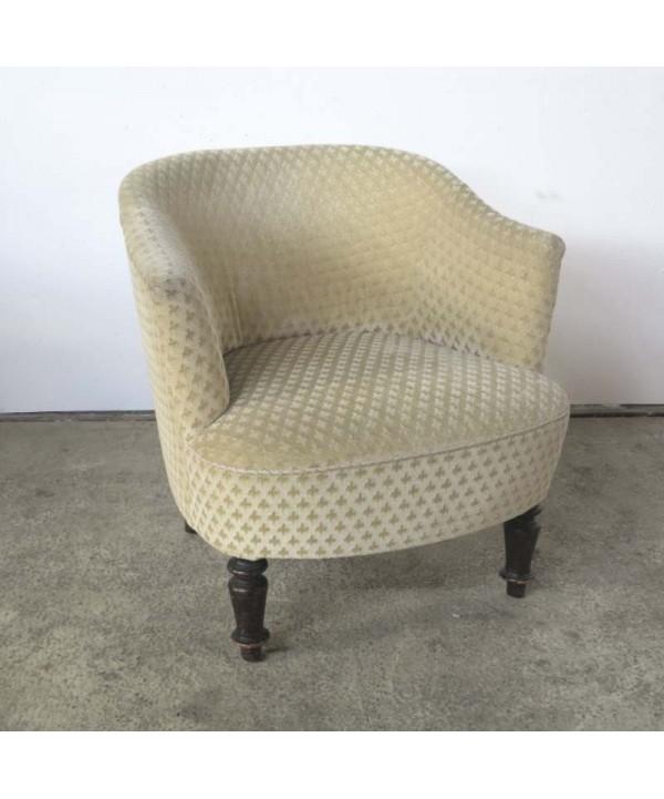 Antique armchair with fleur de lys upholstery. 1850 - 1880