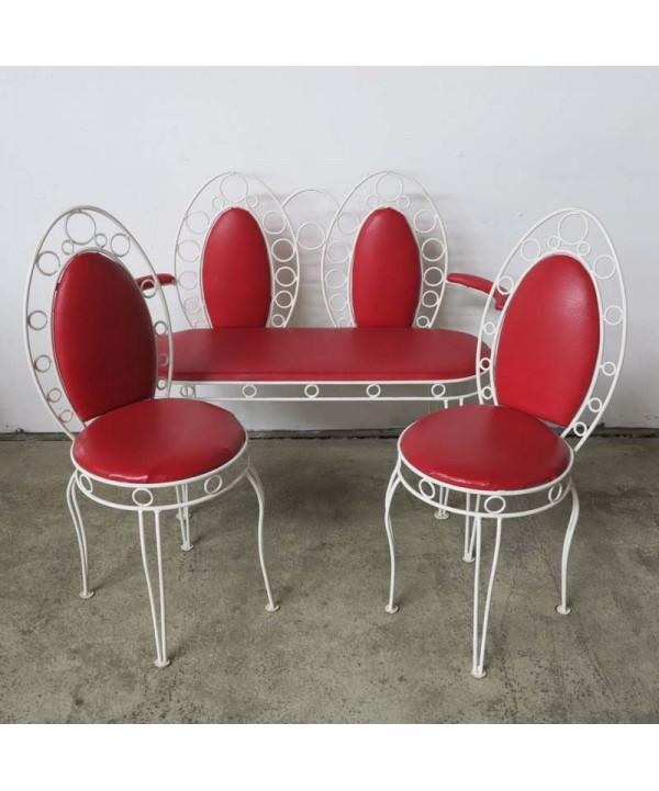 Banco Vintage con dos sillas de metal y skai. 1960 - 1969